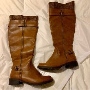 JUSTFAB LIKE NEW BROWN FALL KNEE HIGH BOOTS